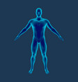 standing man isolated on blue background vector image vector image