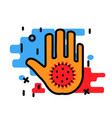 stop coronavirus concept with hand and virus vector image vector image