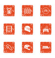 street race icons set grunge style vector image