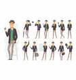 stylish man - cartoon people character set vector image