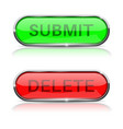 submit and delete buttons shiny green and red vector image vector image