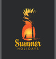 summer travel banner with sun palm and surfer vector image vector image