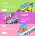 trolleybus taxi and train station posters vector image