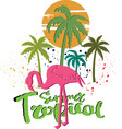tropical summer palm tree with flamingo design vector image