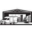van loading goods in distribution warehouse vector image