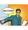 welcome businessman opens door vector image vector image