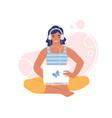 woman in headphones listening to music online vector image vector image
