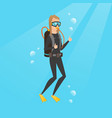 young caucasian scuba diver giving thumb up vector image vector image