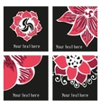 Set of posters with hand drawn tattoo floral vector image