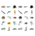 a variety of marine animals cartoonmono icons in vector image vector image