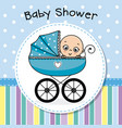 baby boy inside baby carriage vector image vector image