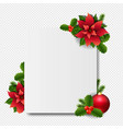 banner with red christmas poinsettia transparent vector image vector image