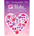 Beach party invitation in red and pink colors vector image vector image