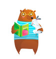 bear wearing glasses and bunny rabbit reading vector image