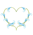 Beautiful Blue Anthurium Flowers in Heart Shape vector image vector image