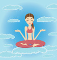 beautiful young woman meditating and relaxing vector image