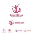beauty drink logo vector image vector image