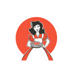 beauty retro pinup cartoon girl holding a vector image