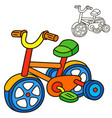 bicycle coloring book page vector image vector image