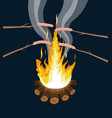 bonfire with grilled sausages logs and fire vector image vector image