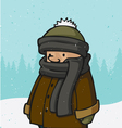 boy outside on a cold snowing winter day vector image vector image