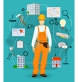 Builder man worker concept with flat icons vector image vector image