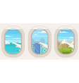 cartoon airplane porthole with different view set vector image vector image