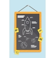 Cartoon blueprint of rocket ship vector image