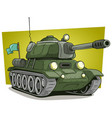 cartoon green military army large tank icon vector image