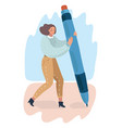 cartoon woman holding big pencil and drawing vector image vector image