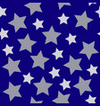 christmas stars white silver on dark blue night vector image