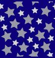 christmas stars white silver on dark blue night vector image vector image