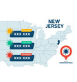 covid19-19 new jersey state usa map confirmed vector image vector image