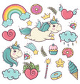 cute soft unicorns set of wonderful magical vector image