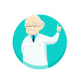 elderly doctor gives advice holding his finger up vector image