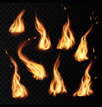 fire flames burning realistic icons with sparks vector image vector image