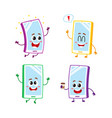 four cartoon mobile phone smartphone character vector image vector image