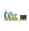 group of friends watching sports on tv and vector image vector image