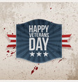 happy veterans day holiday sign vector image