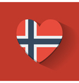 Heart-shaped icon with flag of Norway vector image