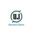 initial letter uj logo template design vector image