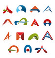 letter a abstract colorful icons vector image