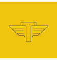 letter t logo with wings in thin lines vector image