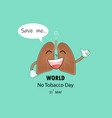lung cute cartoon character and stop smoking vector image