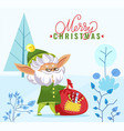 merry christmas greeting elf with sack in forest vector image vector image