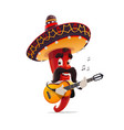 mexican red chili pepper mariachi in sombrero vector image vector image