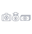 money suitcase and pouch line icon vector image vector image