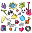 Music party kawaii set Musical instruments vector image