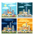 night and day cityscape vector image vector image