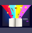open book with different elements flowing vector image